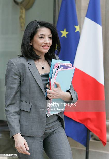 France's Youth and Associations Junior Minister Jeannette Bougrab leaves the weekly cabinet meeting at Elysee Palace on February 15 2012 in Paris...