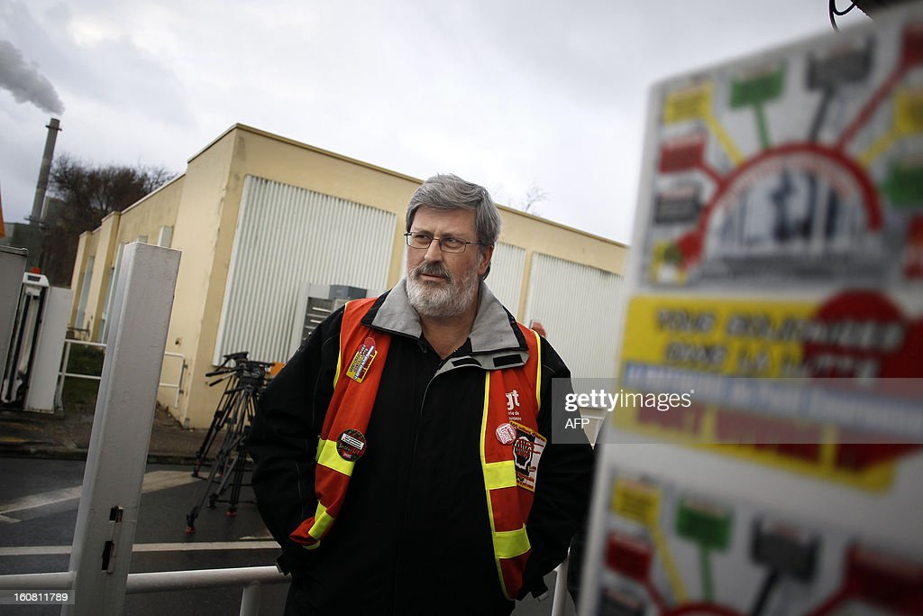 France's Yvon Scornet, Petroplus oil refinery's unions spokesman, leaves a meeting on February 6, 2013 to speak to journalists after Petroplus' direction and the court administrators announced that none of the five offers filed the day before were admissible for the recovery of the Petroplus oil refinery in Petit-Couronne, northwestern France.