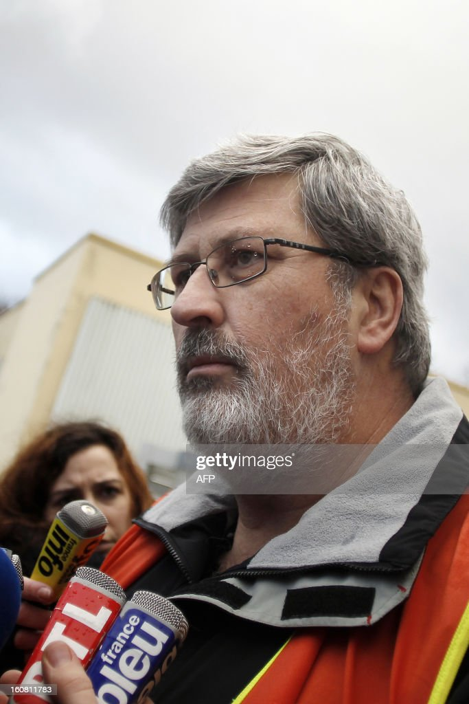 France's Yvon Scornet, Petroplus oil refinery's unions spokesman, speaks on February 6, 2013 to journalists after Petroplus' direction and the court administrators announced that none of the five offers filed the day before were admissible for the recovery of the Petroplus oil refinery in Petit-Couronne, northwestern France.