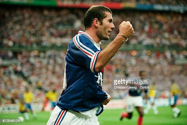 France's Zinedine Zidane celebrates scoring his team's second goal during the final of the 1998 FIFA World Cup against Brazil France won 30 |...
