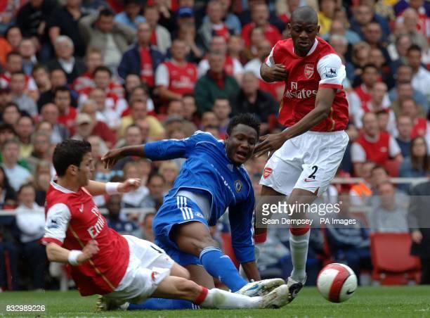 Francesc Fabregas Arsenal and John Mikel Chelsea battle for the ball