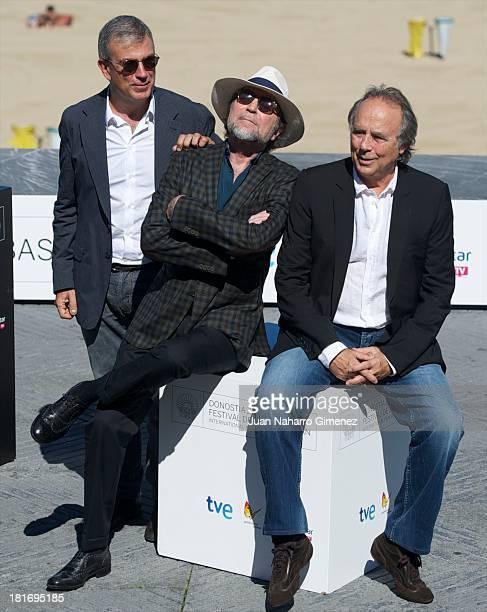 Francesc Relea Joaquin Sabina and Joan Manuel Serrat attend 'Serrat Y Sabina El Simbolo Y El Cuate' photocall during 61st San Sebastian Film Festival...