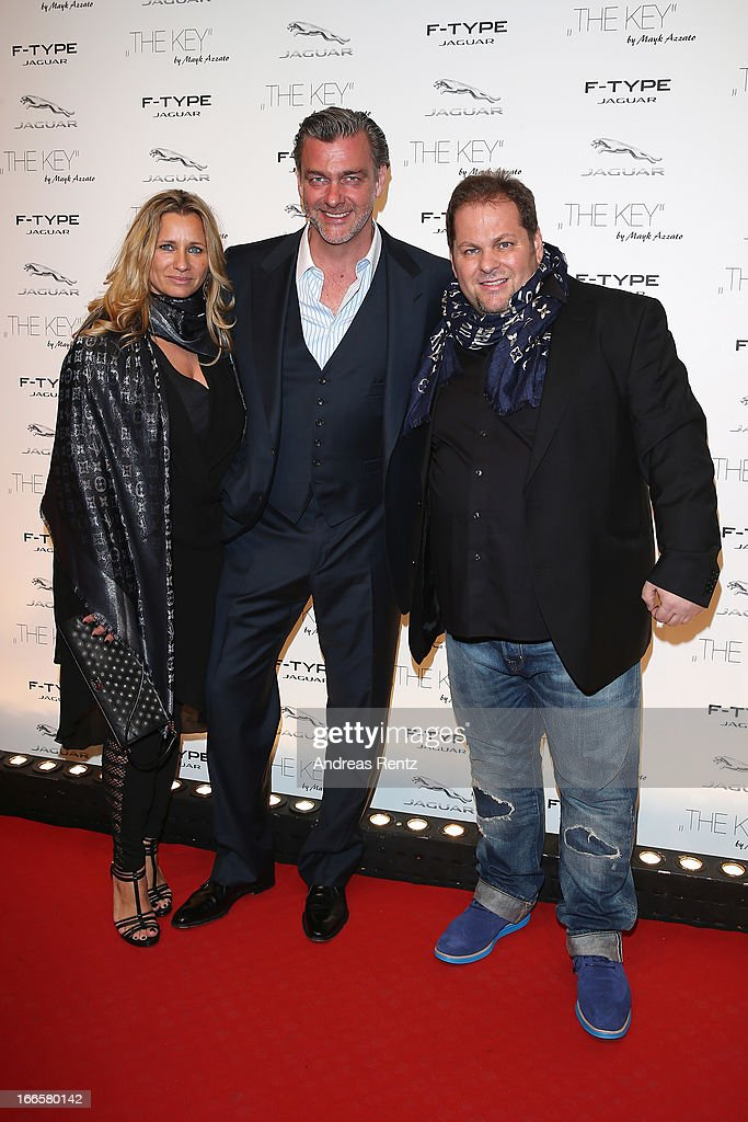 Francesca Azzato Ray Stevenson and Mayk Azzato attend the Jaguar FType short film 'The Key' Premiere at eWerk on April 13 2013 in Berlin Germany
