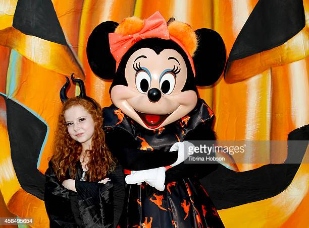 Francesca Capaldi and Minnie Mouse attend the Disney's VIP Halloween event at Disney Consumer Products Campus on October 1 2014 in Glendale California