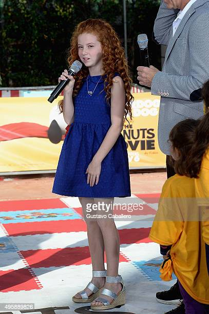 Francesca Capaldi is seen on the set Of Univisions 'Despierta America' to promote the film 'Peanuts'at Univision Studios on November 5 2015 in Miami...