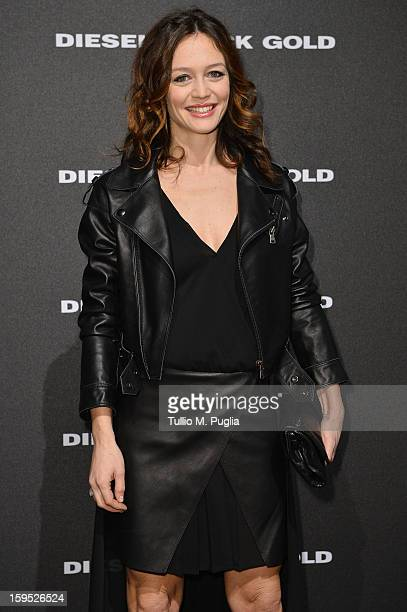 Francesca Cavallin attends the Diesel Black Gold show as part of Milan Fashion Week Menswear Autumn/Winter 2013 on January 15 2013 in Milan Italy
