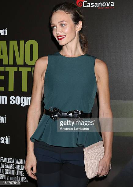 Francesca Cavallini attends the preview of film 'Adriano Olivetti La forza di un sogno' on October 16 2013 in Milan Italy