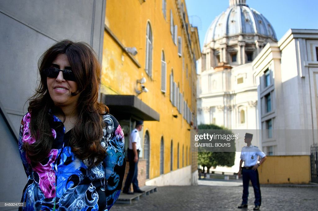 Francesca Chaouqui leaves Vatican City on July 7 2016 after the verdict in the 'Vatileaks' trial Two investigative journalists Gianluigi Nuzzi and...
