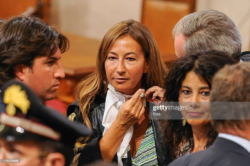 Francesca Coppi, daughter of Franco Coppi, Silvio Berlusconi's defense lawyer, waits for the High Supreme Court sentence on Mediaset tax-fraud conviction against former Italian Prime Minister Silvio Berlusconi on August 1, 2013 in Rome, Italy. The judges of the supreme court rejected Berlusconi's final appeal against the conviction for tax fraud, sentencing him to four years in prison.