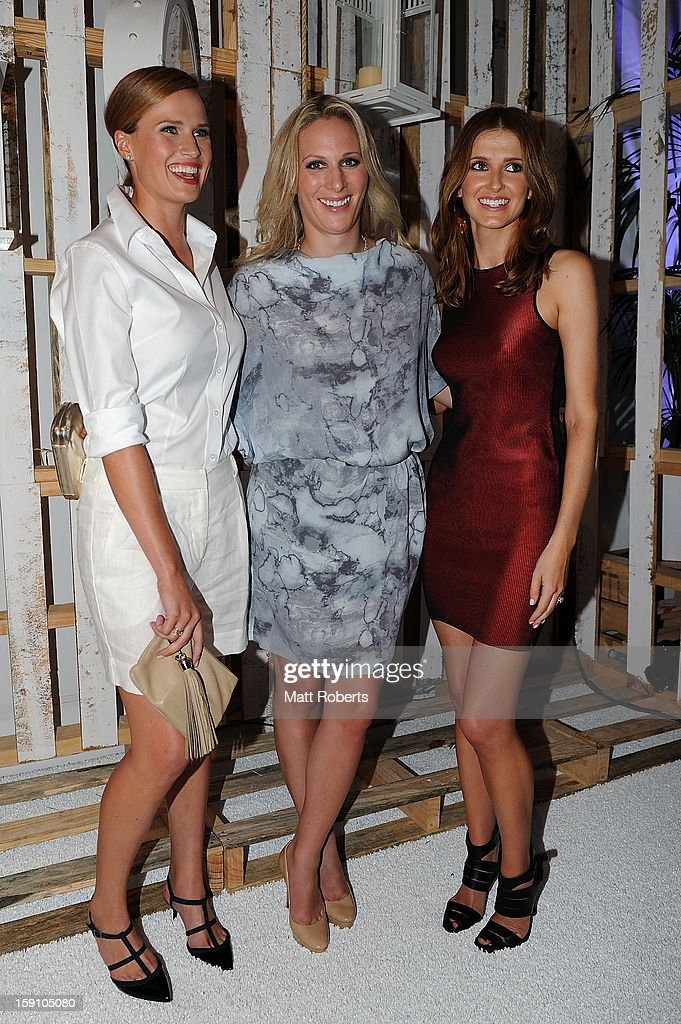 Francesca Cumani, <a gi-track='captionPersonalityLinkClicked' href=/galleries/search?phrase=Zara+Phillips&family=editorial&specificpeople=161323 ng-click='$event.stopPropagation()'>Zara Phillips</a> and <a gi-track='captionPersonalityLinkClicked' href=/galleries/search?phrase=Kate+Waterhouse&family=editorial&specificpeople=208104 ng-click='$event.stopPropagation()'>Kate Waterhouse</a> pose during the Magic Millions Opening Night cocktail party at Surfers Paradise foreshore on January 8, 2013 in Surfers Paradise, Australia.