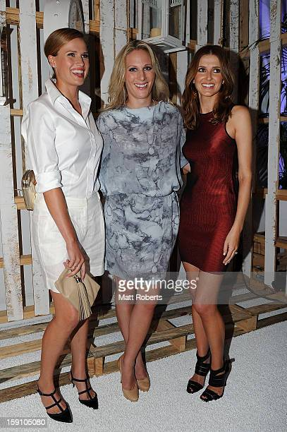 Francesca Cumani Zara Phillips and Kate Waterhouse pose during the Magic Millions Opening Night cocktail party at Surfers Paradise foreshore on...