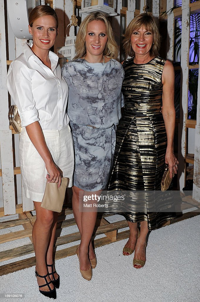 Francesca Cumani, <a gi-track='captionPersonalityLinkClicked' href=/galleries/search?phrase=Zara+Phillips&family=editorial&specificpeople=161323 ng-click='$event.stopPropagation()'>Zara Phillips</a> and Katie Page-Harvey pose during the Magic Millions Opening Night cocktail party at Surfers Paradise foreshore on January 8, 2013 in Surfers Paradise, Australia.