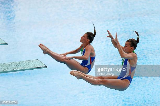 Francesca Dallape and Tania Cagnotto of Italy compete in the Women's 3m Springboard Synchro Final on day Two of the 19th FINA Diving World Cup at the...