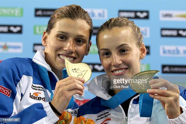 Francesca Dallape and Tania Cagnotto of Italy pose with their Gold medals after winning the Womens 3m Syncro Springboard Final during the 2012...