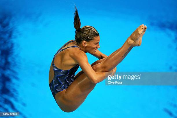 Francesca Dallape of Italy competes in the Women's 3m Springboard Diving Preliminary Round on Day 7 of the London 2012 Olympic Games at the Aquatics...