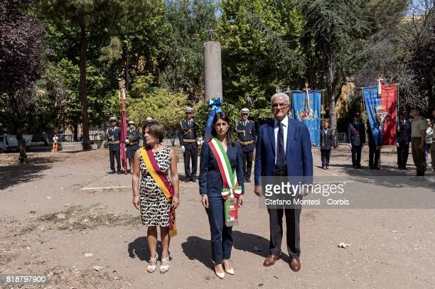 Francesca Del Bello President II Town Hall mayor of Rome Virginia Raggi General Baldassarre Favara Counselor of Region Lazio attend at a...