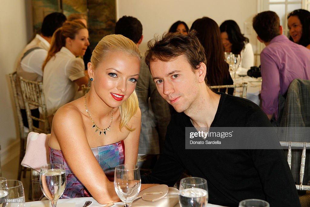 Francesca Eastwood and photographer Tyler Shields (R) attend a luncheon for Francesca Eastwood, Miss Golden Globe 2013, hosted by LoveGold and held at Chateau Marmont on January 9, 2013 in Los Angeles, California.