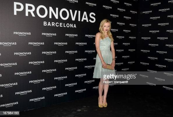 Francesca Eastwood poses for a photocall before the Pronovias bridal fashion show during Barcelona Bridal Week 2013 on May 3 2013 in Barcelona Spain