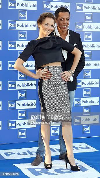 Francesca Fialdini and Livio Beshir attend RAI Yearly TV Show Schedule at Villa Piccolomini on June 25 2015 in Rome Italy