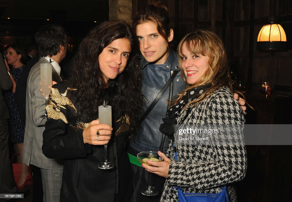 Francesca Gregovini, <a gi-track='captionPersonalityLinkClicked' href=/galleries/search?phrase=Lake+Bell&family=editorial&specificpeople=209336 ng-click='$event.stopPropagation()'>Lake Bell</a> and guest attend Grey Goose hosted Sundance London Filmmaker Dinner at Little House on April 24, 2013 in London, England.