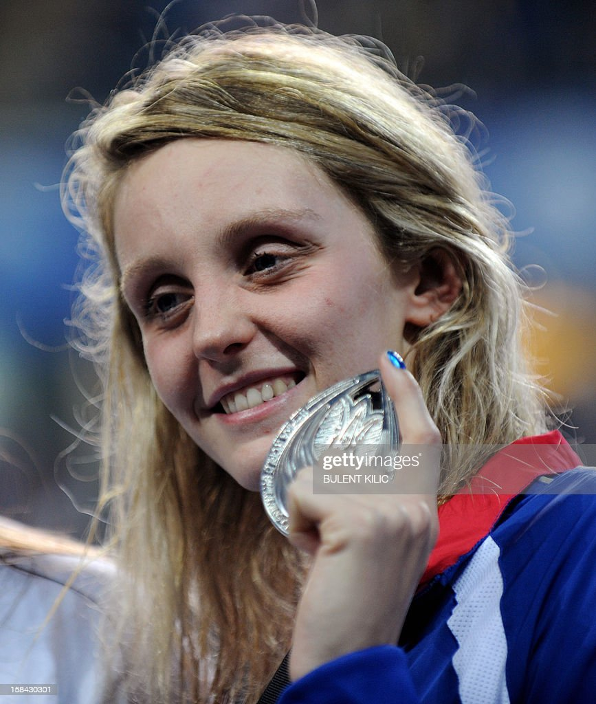 Francesca Halsall of Great Britain celebrates her medal after winning the women`s 50m freestyle final during the Short Course Swimming World Championships in Istanbul on December 16, 2012.
