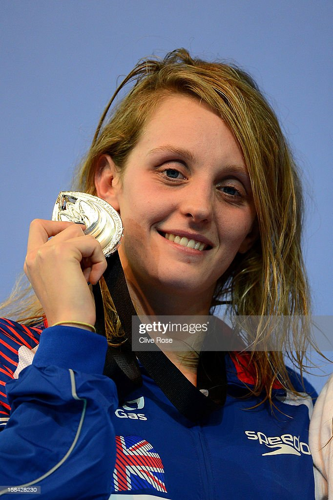Francesca Halsall of Great Britain poses with her Silver medal on the podium after coming second in the Women's 50m Freestyle Final during day five of the 11th FINA Short Course World Championships at the Sinan Erdem Dome on December 16, 2012 in Istanbul, Turkey.