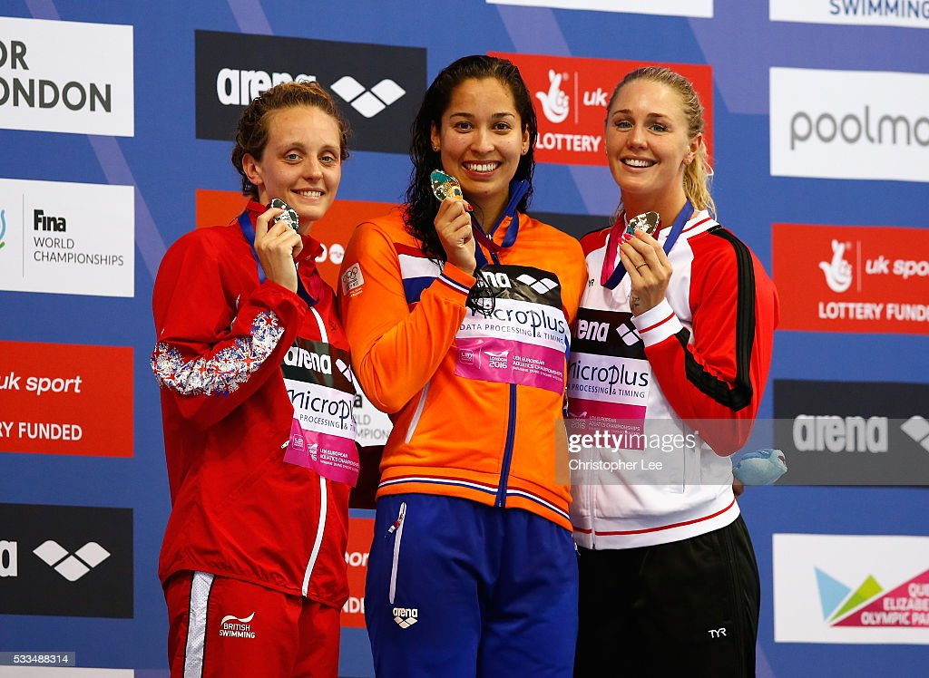 <a gi-track='captionPersonalityLinkClicked' href=/galleries/search?phrase=Francesca+Halsall&family=editorial&specificpeople=1295778 ng-click='$event.stopPropagation()'>Francesca Halsall</a> of Great Britain, <a gi-track='captionPersonalityLinkClicked' href=/galleries/search?phrase=Ranomi+Kromowidjojo&family=editorial&specificpeople=4209840 ng-click='$event.stopPropagation()'>Ranomi Kromowidjojo</a> of Netherlands and Jeanette Ottesen of Denmark pose for the camera with their medals after the Women's 50m Freestyle Final during Day 14 of the 33rd LEN European Swimming Championships 2016 at Aquatics Centre on May 22, 2016 in London, England.