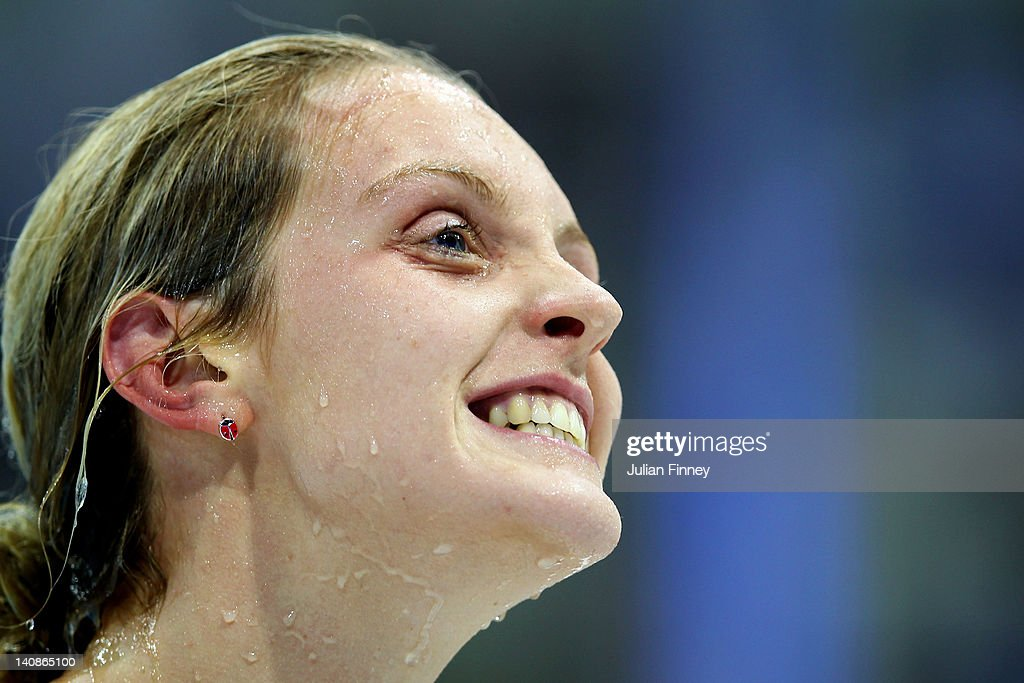 <a gi-track='captionPersonalityLinkClicked' href=/galleries/search?phrase=Francesca+Halsall&family=editorial&specificpeople=1295778 ng-click='$event.stopPropagation()'>Francesca Halsall</a> of Loughborough University reacts after competing in semi final 2 of the Women's 100m Freestyle during day five of the British Gas Swimming Championships at The London Aquatics Centre on March 7, 2012 in London, England.