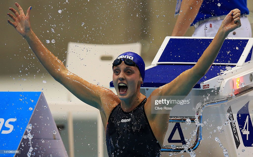 <a gi-track='captionPersonalityLinkClicked' href=/galleries/search?phrase=Francesca+Halsall&family=editorial&specificpeople=1295778 ng-click='$event.stopPropagation()'>Francesca Halsall</a> of Loughborough University S & WPC looks at the scoreboard after winning the Women's 50m Freestyle Final during day eight of the British Gas Swimming Championships at The London Aquatics Centre on March 10, 2012 in London, England.