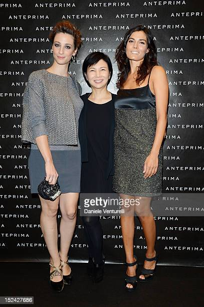 Francesca Inaudi Izumi Ogino and Valeria Solarino attend the Anteprima Fashion Show as part of Milan Fashion Week Womenswear S/S 2013 on September 20...