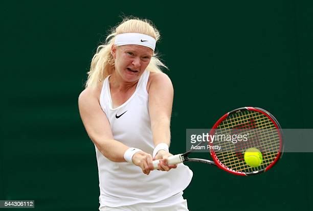 Francesca Jones of Great Britain plays a backhand during the Girl's singles first round match against Emiliana Arango of Columbia on Middle Sunday of...