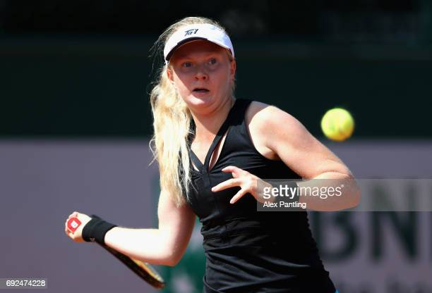 Francesca Jones of Great Britain plays a forehand during girls singles first round match against Mai Hontama of Japan on day nine of the 2017 French...