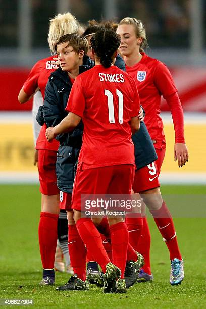 Francesca Kirby and Demi Stokes of England celebrate after the Women's International Friendly match between Germany and England at...