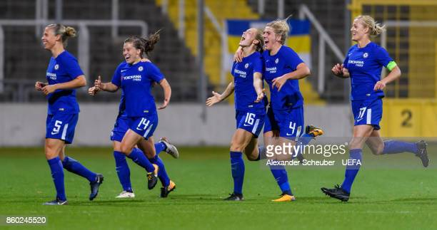 Francesca Kirby of Chelsea celebrates the first goal for her team during the UEFA Women Champions League Round of 32 second leg match between FC...