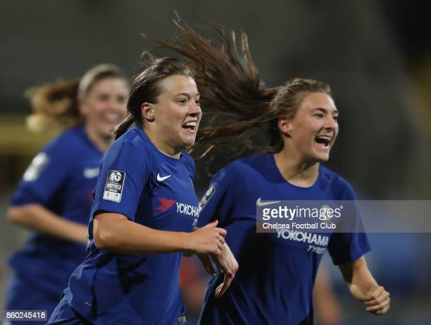 Francesca Kirby of Chelsea FC celebrates her first goal with teammate Maren Mjelde during the Champions League round of 32 second leg match between...