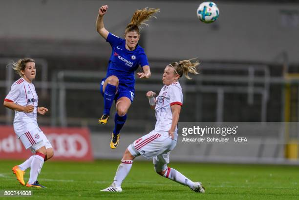 Francesca Kirby of Chelsea in action against Kristin Demann of Bayern Muenchen during the UEFA Women Champions League Round of 32 second leg match...