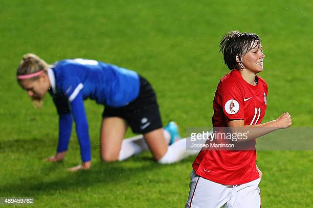 Francesca Kirby of England celebrates her goal during UEFA Women's Euro 2017 Qualifier match between Estonia and England at A Le Coq Arena on...