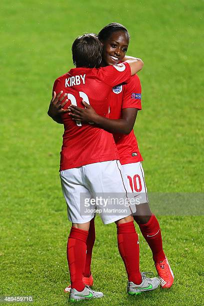Francesca Kirby of England celebrates her goal with Danielle Carter during UEFA Women's Euro 2017 Qualifier match between Estonia and England at A Le...