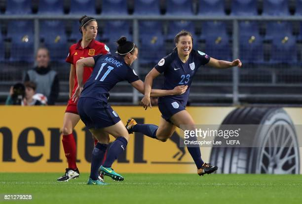Francesca Kirby of England celebrates scoring their first goal during the UEFA Women's Euro 2017 Group D match between England and Spain at Rat...