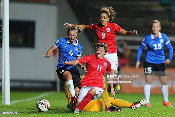 Francesca Kirby of England scores during UEFA Women's Euro 2017 Qualifier match between Estonia and England at A Le Coq Arena on September 21 2015 in...