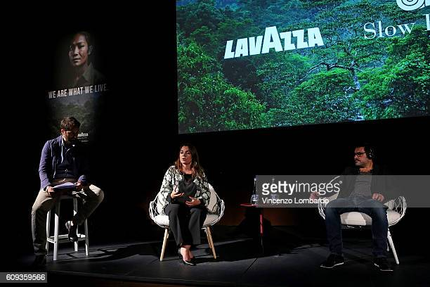 Francesca Lavazza and Denis Rouvre attend the 2017 Lavazza Calendar Presentation on September 20 2016 in Milan Italy