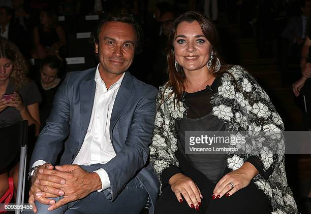 Francesca Lavazza and her husband attend the 2017 Lavazza Calendar Presentation on September 20 2016 in Milan Italy