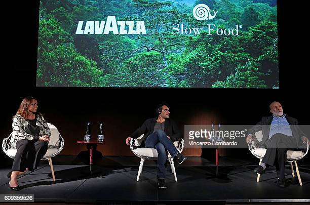 Francesca Lavazza Denis Rouvre and Carlo Petrini attend the 2017 Lavazza Calendar Presentation on September 20 2016 in Milan Italy