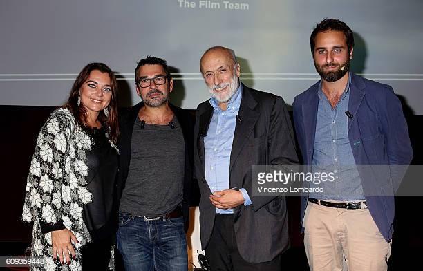 Francesca Lavazza Denis Rouvre Carlo Petrini and Matteo Caccia attend the 2017 Lavazza Calendar Presentation on September 20 2016 in Milan Italy