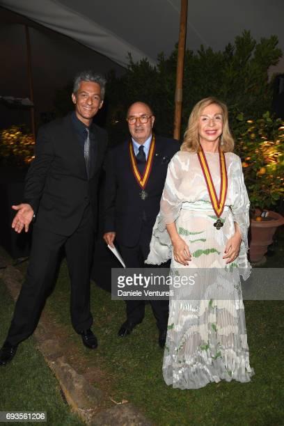 Francesca Lo Schiavo Dante Ferretti and Rosario Fiorello attend McKim Medal Gala at Villa Aurelia on June 7 2017 in Rome Italy