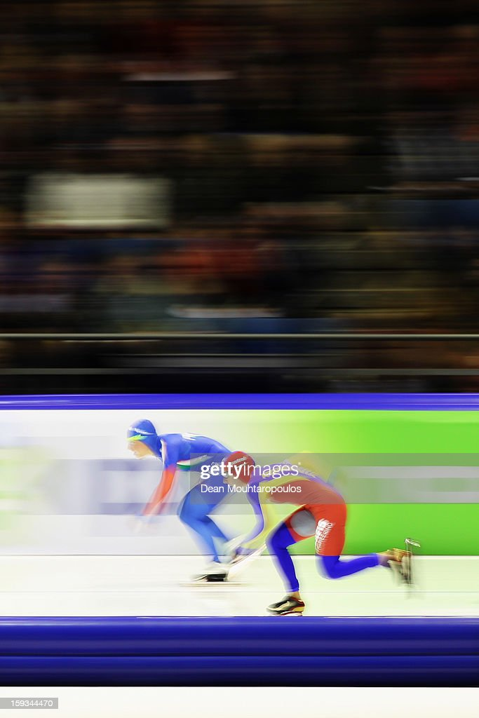 Francesca Lollobrigida (L) of Italy and Daniela Oltean of Romania compete in the 500m Ladies race during the Essent ISU European Speed Skating Championships 2013 at Thialf Stadium on January 12, 2013 in Heerenveen, Netherlands.