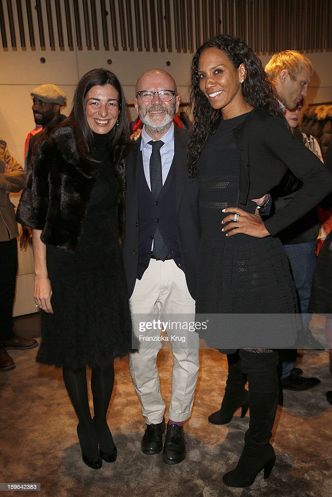 Francesca Lusini, Riccardo Coppola and Barbara Becker attend the 'Peuterey Cocktail Party' at Peuterey flagship store Kurfuerstendamm on January 15, 2013 in Berlin, Germany.