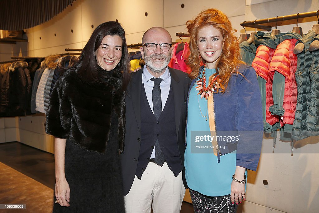 Francesca Lusini, Riccardo Coppola and Palina Rojinski attend the 'Peuterey Cocktail Party' at Peuterey flagship store Kurfuerstendamm on January 15, 2013 in Berlin, Germany.