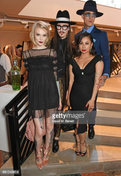 Francesca Merricks Joshua Kane Jet Luna and Jimmy Q attend the Perfect Ten Exhibition in association with Tanqueray No TEN at Harvey Nichols on June...