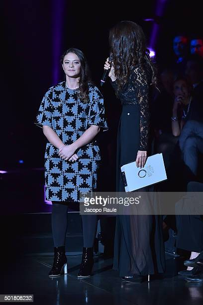 Francesca Michielin and Laura Barriales attend the 'Gazzetta Awards' on December 17 2015 in Milan Italy